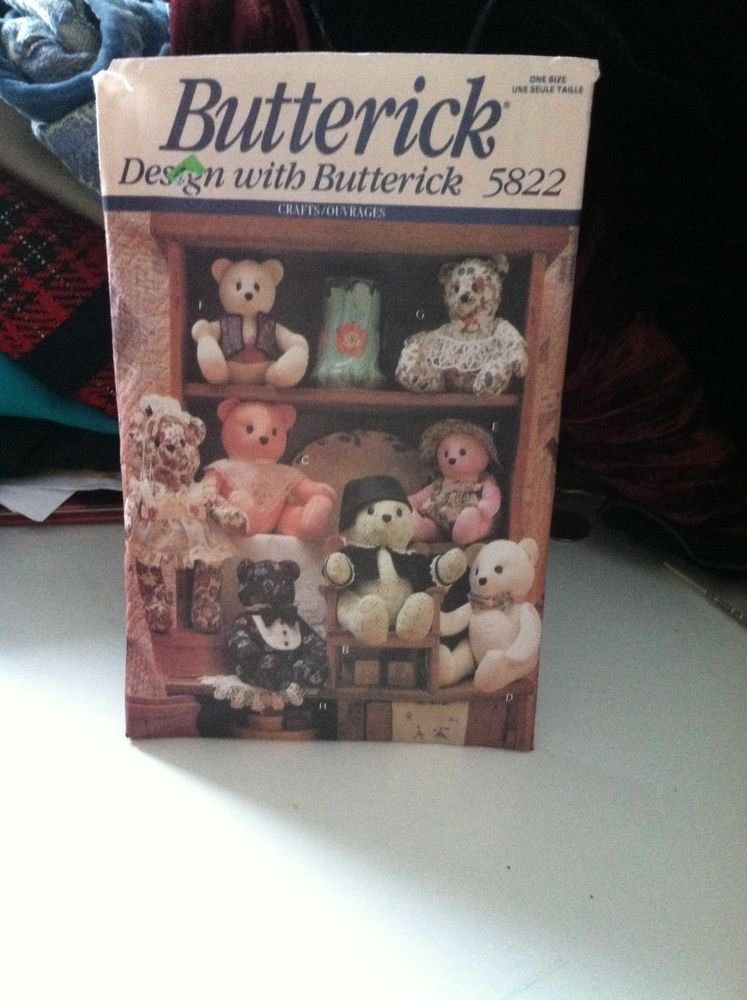 """UNCUT Butterick Sewing Pattern #5822 15"""" & 18"""" Bears w/moveable arms & legs"""