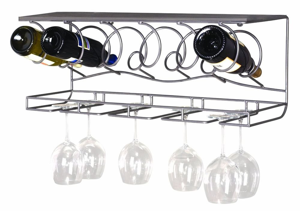 New Wine Bar Wall Rack metal wood 6 bottle 8 wine glasses holder organizer