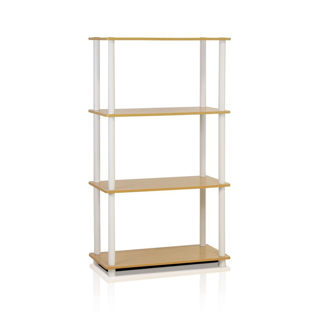 Sterilite 4-Tier Tube Shelf, Beech and White