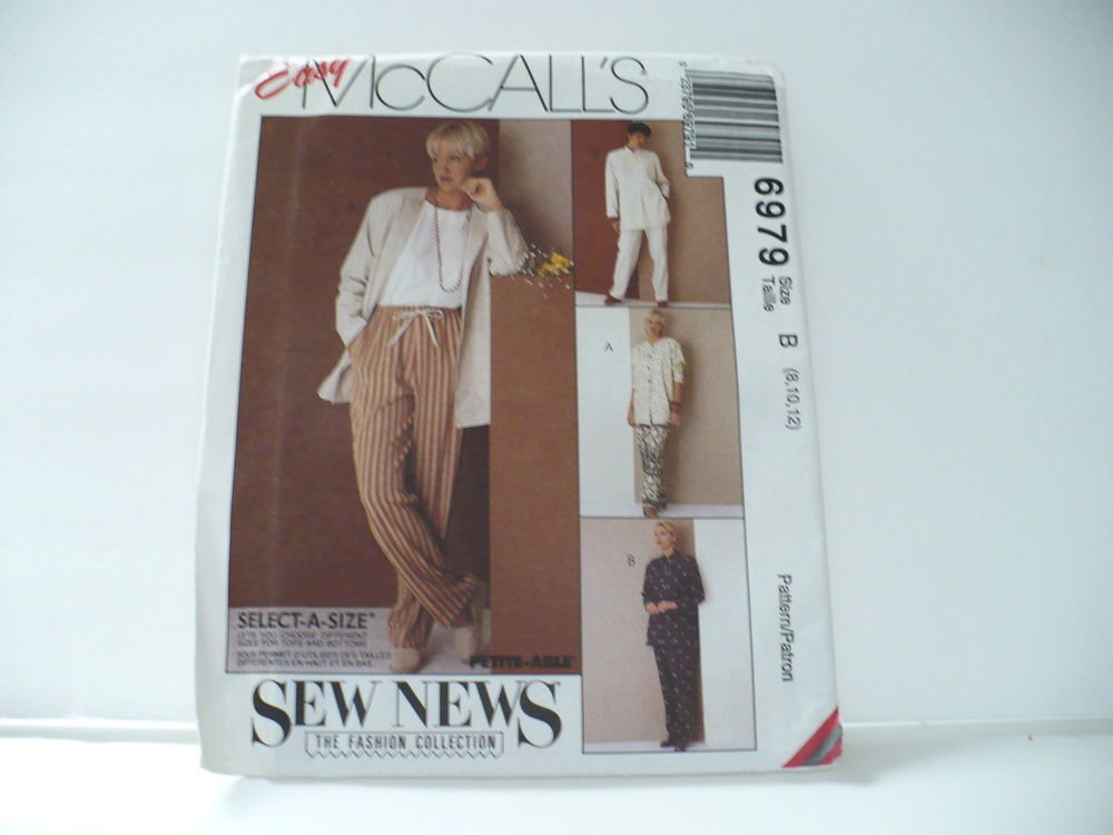 UNCUT McCall's Easy Sewing Pattern #6979 Pants Tunic Misses Size 8, 10, 12