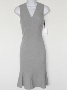 Calvin Klein Dress Light Gray Curvy Sheath Tulip Ruffle Career Cocktail NWT