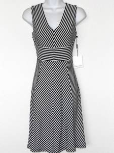 Calvin Klein Dress Black White Geo Stripe Print Stretch Fit & Flare NWT
