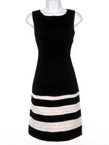 Ivanka Trump Dress Black Ivory Lace Block Stripes Sheath Sleeveless New