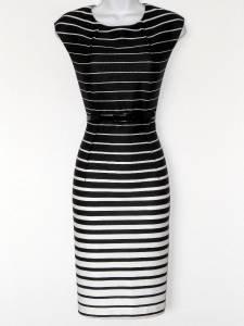 Connected Apparel Dress Black White Stripes Knit Sheath Belt Versatile New