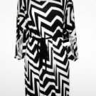 Sandra Darren Dress Size 20W Black White Zigzag Stripe Print Belt Kimono NWT