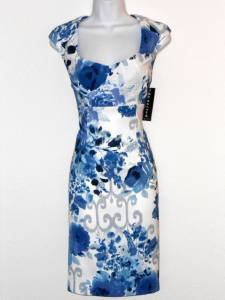 Connected Apparel Dress Blue White Watercolor Floral Print Sheath NWT