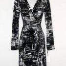 Calvin Klein Wrap Dress Black White Abstract Print Stretch Versatile NWT