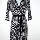 Karen Kane Dress Large L Faux Wrap Black White Zebra Animal Knit Belt NWT