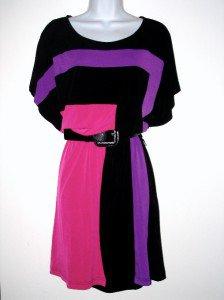 Rafaella Dress Small S Pink Purple Black Colorblock Geo Stripe Blouson Belt