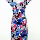 Suzi Chin Dress Size 2 Blue Pink Watercolor Floral Print Ruched Wiggle New
