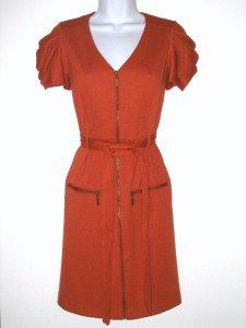 Jessica Simpson Dress Size Sz 6 Knit Mini Orange Pumpkin Zipper Belt NWT New
