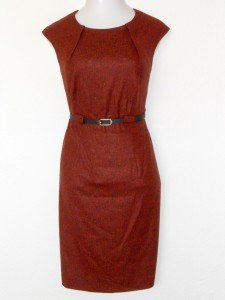 Connected Apparel Dress Size 18W Orange Sheath Belt Speckled Career Cocktail New