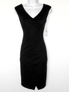 Sandra Darren Black Dress Size 6 Starburst Stretch V Neck Cocktail NWT