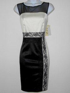 Sangria Dress Size 10P Ivory Black Satin Illusion Colorblock Lace Cocktail NWT