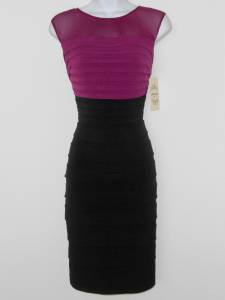 Sangria Dress Size 12P Berry Black Shutter Pleat Stretch Mesh Illusion NWT