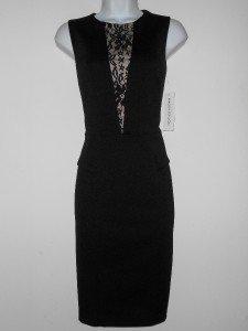 Maggy London Dress Size 4 Black Nude Lace Illusion Peplum Ponte Stretch NWT