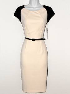 Maggy London Dress Size 8 Ivory Black Colorblock Scuba Cap Sleeve Belt NWT