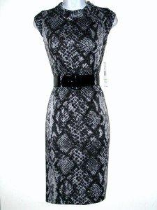 Nine West Dress Size Sz 2 Sheath Gray Black Snakeskin Print Knit Belt NWT