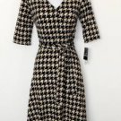 Sandra Darren Dress Size 8 Black Beige Houndstooth Print Faux Wrap Knit NWT