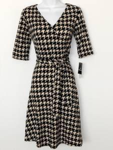 Sandra Darren Dress Size 8 Black Beige Houndstooth Print Faux Wrap Knit NWT