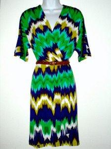 Calvin Klein CK Dress Size Sz 4 Blue Green Watercolor Boho Belt Stretch NWT