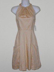 Jessica Simpson Dress Size 4 Beige Taupe Halter Cotton Flare Pockets Retro NWT