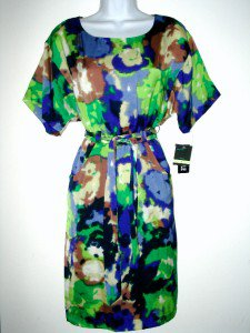 Gabby Skye Dress Size Sz 8 Blue Green Watercolor Print Silky Belt NWT