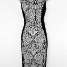 Bobeau Dress Medium M Black Ivory Print Colorblock Stretch Knit Cocktail New