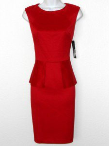 Nine West Dress Size 12 Cherry Red Peplum Pencil Stretch Cocktail Party NWT