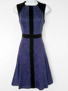 Maggy London Dress Size 10 Purple Black Knit Colorblock Knit Flare Faux Leather