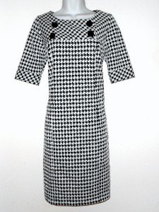 Rabbit Designs Dress Size 10 Shift Black White Houndstooth Retro New