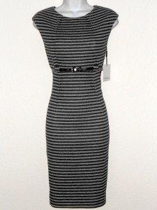 Calvin Klein Dress Size 8 Dark Light Gray Striped Knit Sheath Silver Belt NWT
