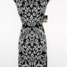 Sandra Darren Dress Size 16 Black Ivory Scroll Print Sheath Faux Leather NWT