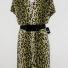 Sandra Darren Dress Size 14W Green Black Leopard Animal Print Belt Blouson NWT