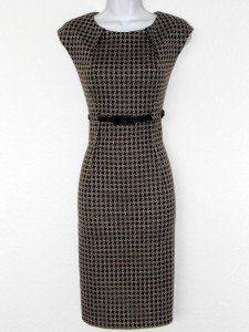 Connected Apparel Dress Size 24W Taupe Black Houndstooth Knit Sheath Belt New