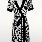 Calvin Klein Dress Size XS Faux Wrap Black White Animal Print Stretch NWT