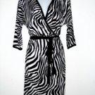 Karen Kane Dress Small S Faux Wrap Black White Zebra Animal Knit Belt NWT