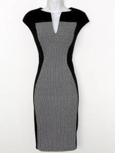 Connected Apparel Dress Size 8 Black White Polka Dot Knit Sheath Colorblock New
