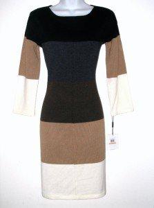 Calvin Klein Sweater Dress Large L Lrg Neutral Block Stripe Knit NWT
