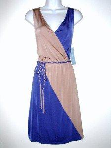 London Times Sleeveless Dress Size Sz 8 Blue Beige Colorblock Silky Belt NWT