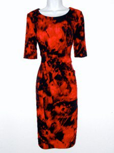 Connected Apparel Dress Size Sz 10 Stretch Red Black Watercolor Tie Dye New NWOT
