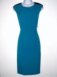 Calvin Klein CK Dress Size Sz 8 Sheath Teal Blue Black Colorblock NWT