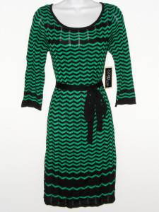 Julian Taylor Sweater Dress Large L Green Black Zigzag Stripe Belt Boho NWT