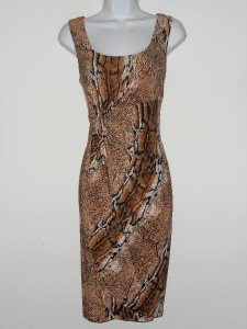 Connected Apparel Dress Size 12 Brown Black Snakeskin Stretch Gathered New