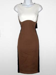 Ronni Nicole Dress Size 12 Mocha Black Ivory Colorblock Illusion Stretch NWT