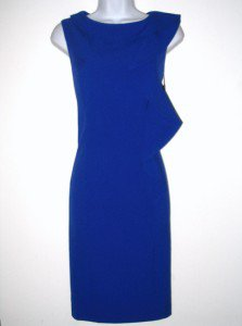 Calvin Klein CK Dress Size Sz 10 Blue Sheath Ruffle Career Cocktail NWT