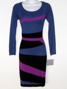 Marc NY Sweater Dress Small S Blue Pink Black Colorblock Geo Stripe Knit NWT