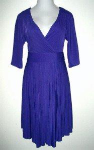 BCBG Max Azria Dress Size Large Lrg L Faux Wrap Purple Blue Pleated Belt NWT