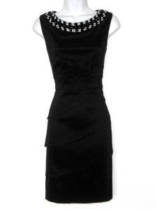 Connected Apparel Black Dress Size 12 Shutter Pleat Sheath Jewel Bib Necklace