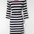 Calvin Klein Dress Size 14 Black White Striped Hot Pink Trim Belt Stretch Knit